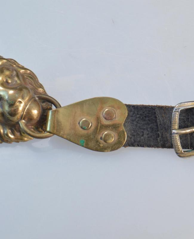 Bavarian Raupenhelm Leather Strap with Attachments